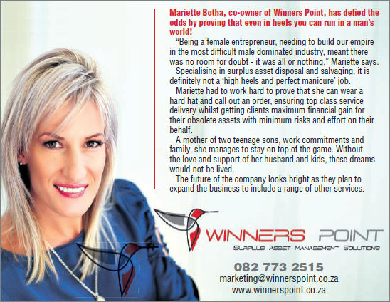 Mariette Botha - nominated as a finalist in the Business Woman of the Year Regional Awards for Zululand